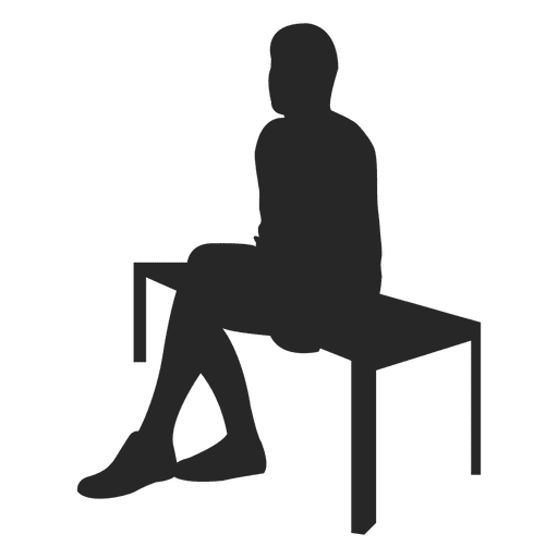 People sitting at table silhouette png. Man on bench transparent