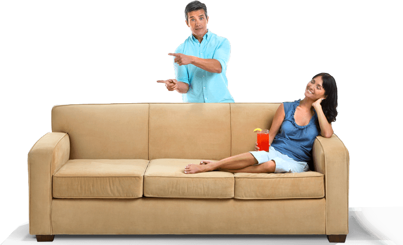 People sitting on a couch png. House cleaning maid service