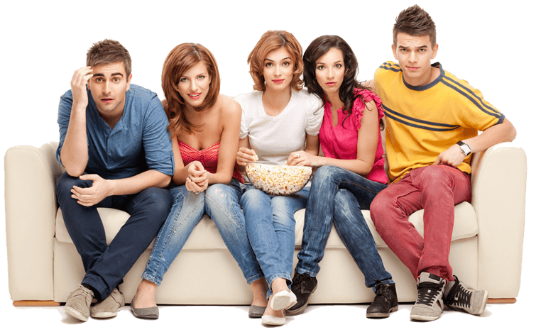 People sitting on a couch png. With about this size