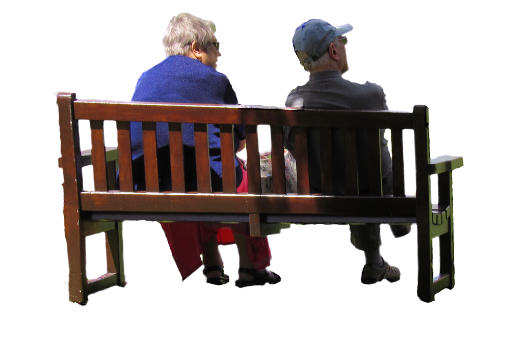 People sitting on bench png. Old couple park stock