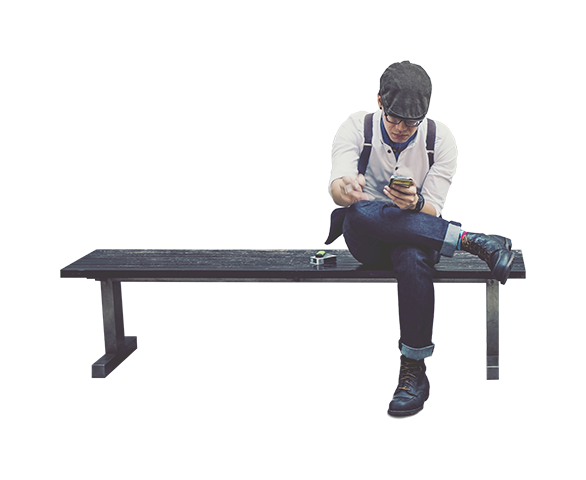 People sitting on bench png. Man using smartphone architecture