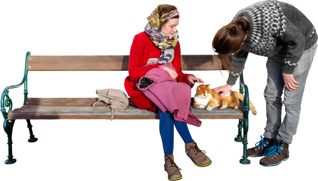 People sitting on bench png. The cat loves p