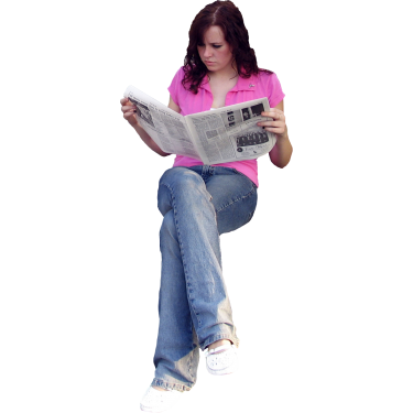 People sitting on couch png. Student reading newspaper studio