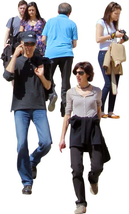People walking down stairs png. Cutout life tourists the