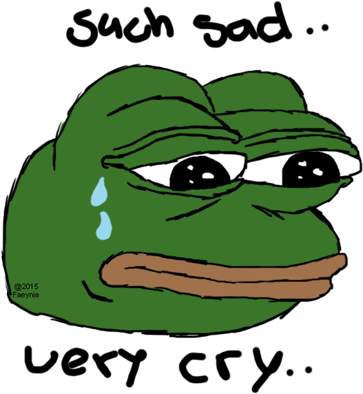 Pepe frog sad png. The meme by faeynia
