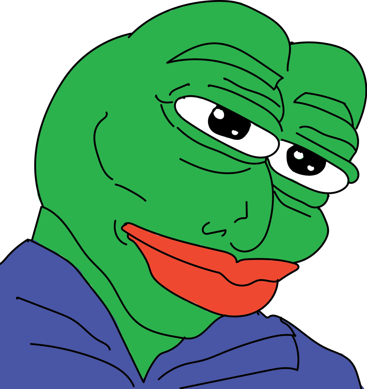 Pepe frog sad png. Handsome transparent stickpng