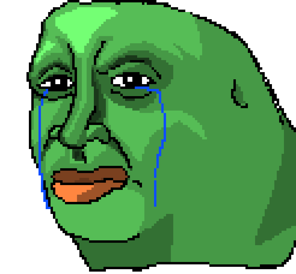 Pixel art maker. Pepe sad png clip black and white library