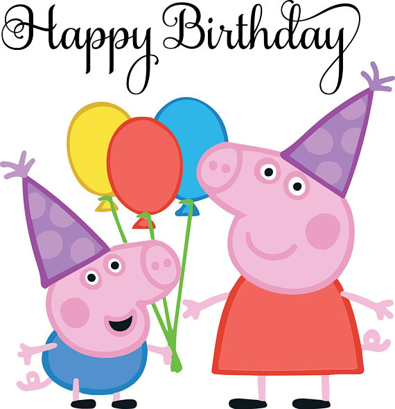 Peppa clipart happy birthday. Pig at getdrawings com