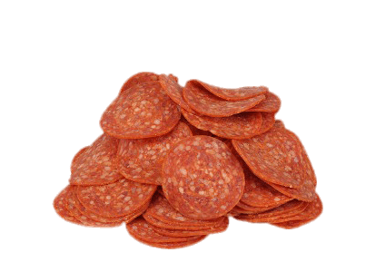 Pile of salami slices. Pepperoni transparent svg royalty free stock