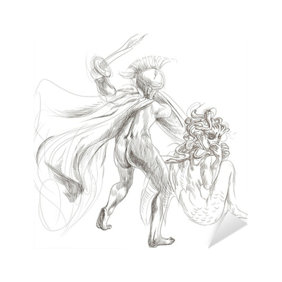 Perseus drawing greek myth. Myths full sized hand
