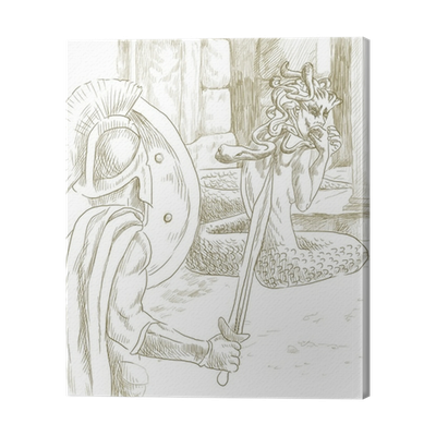 Perseus drawing sketch. Greek myths full sized