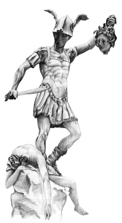 Perseus drawing. With the head of