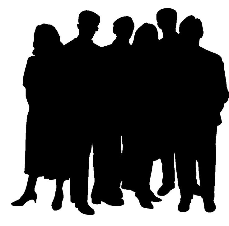 Person clipart line. Group of people silhouette