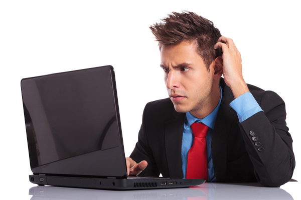 Person on computer confused png. Don t let your