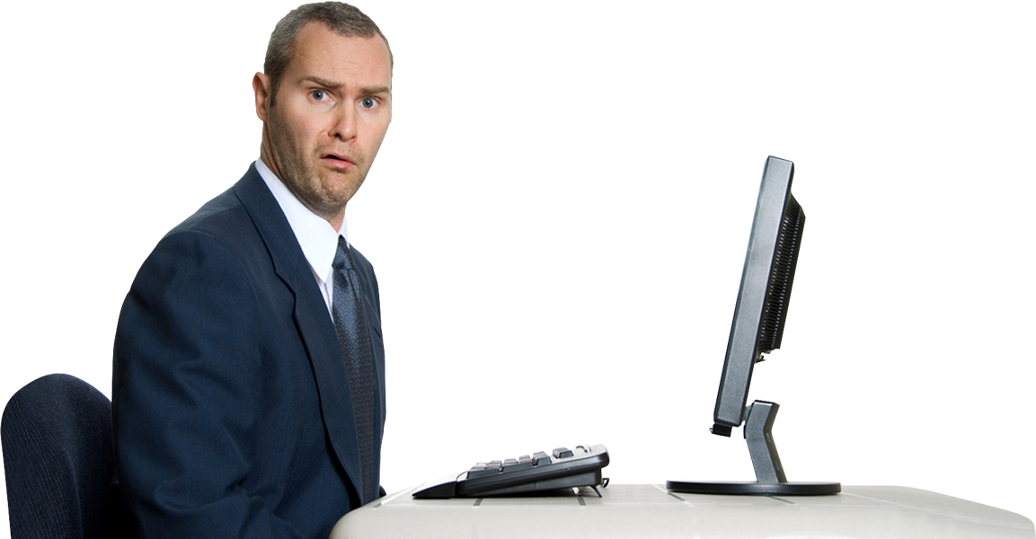 Person on computer confused png. Money online and offline