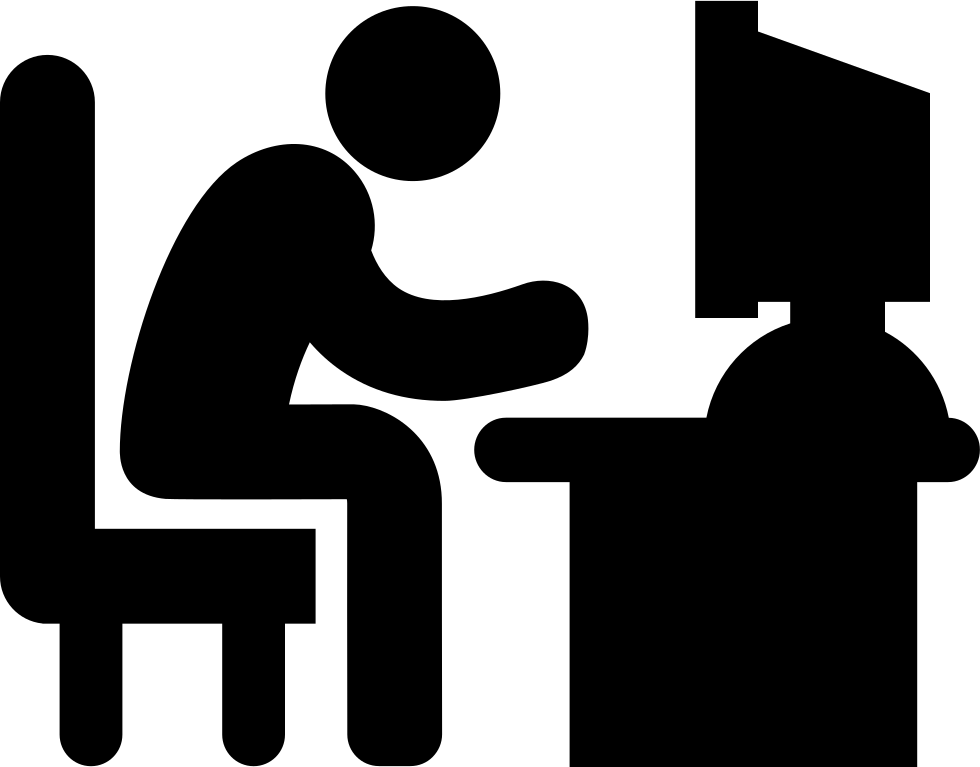 Person on computer confused png. Man typing desk svg