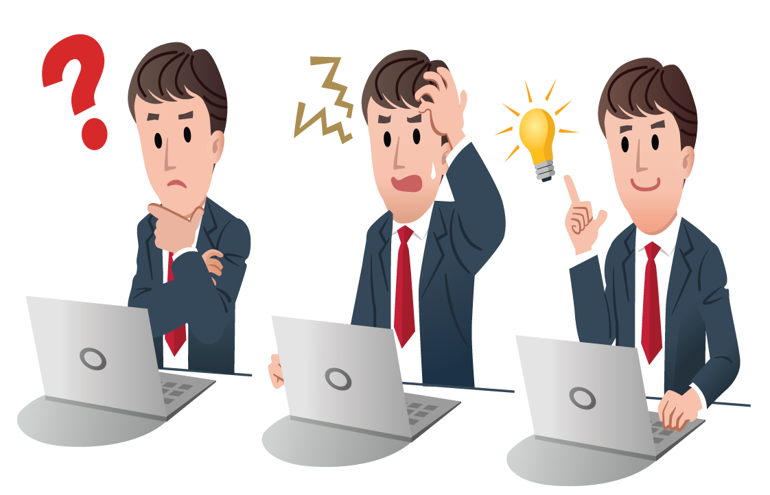 Person on computer confused png. Critical questions network