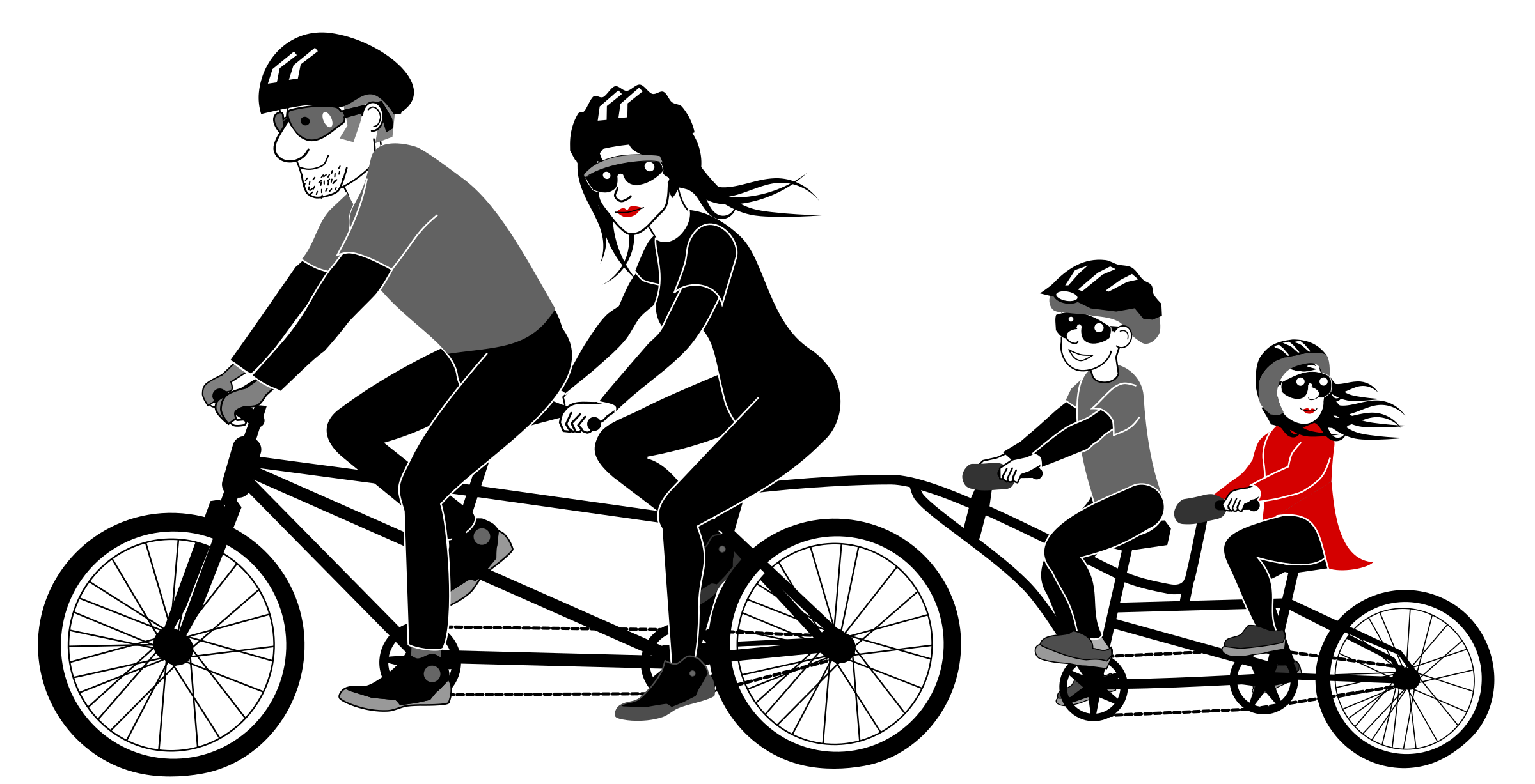 Cycle vector man. Family riding tandem bicycle