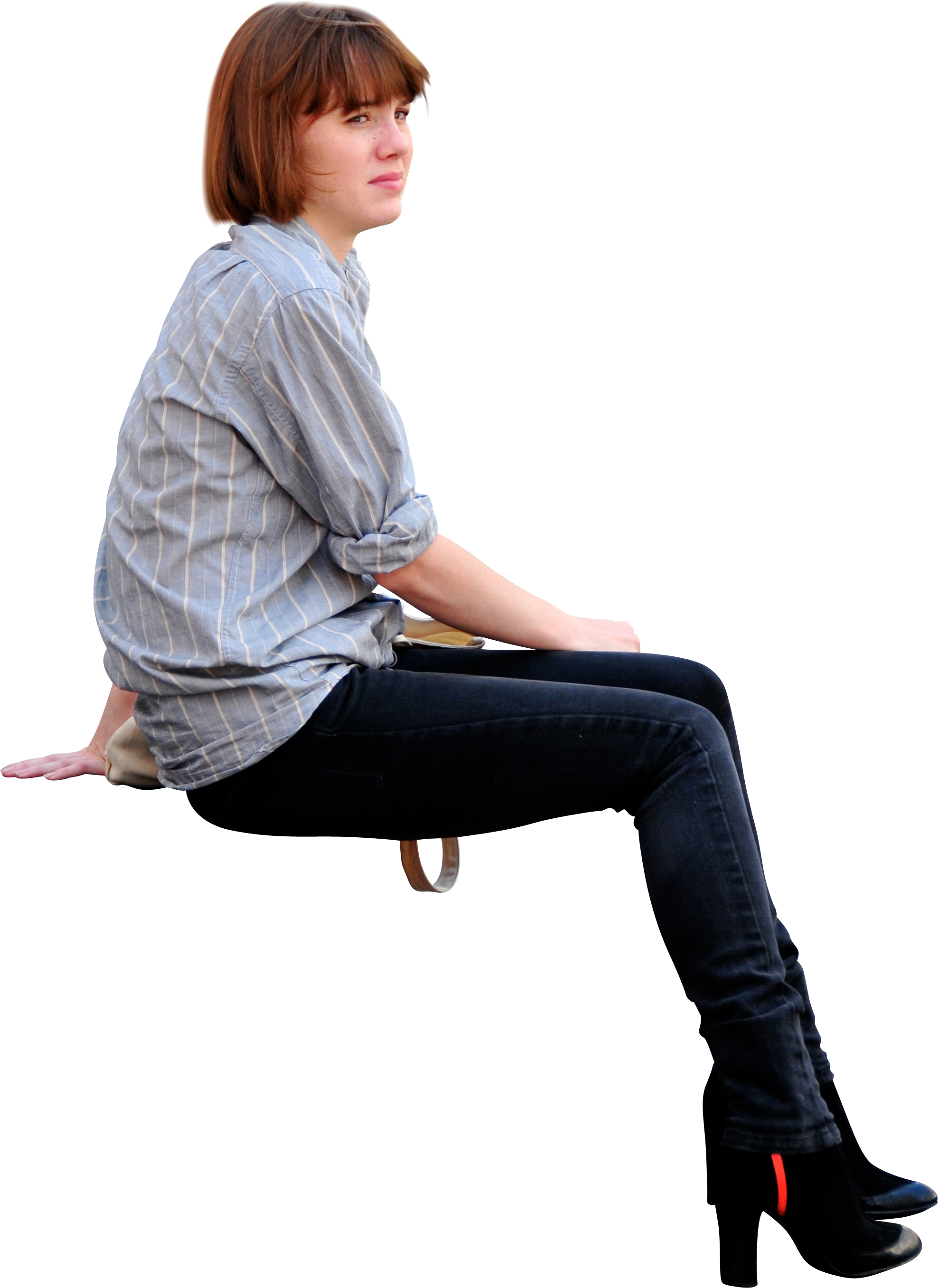 Person sitting on bench png. Girl down viewed from