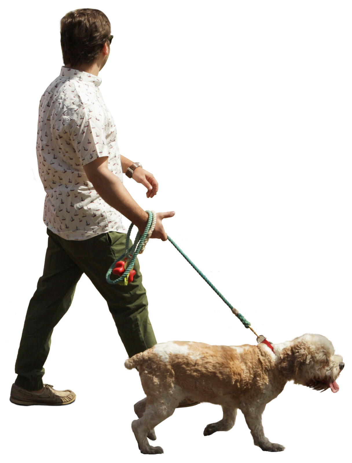 Person walking dog png. Man with cut out