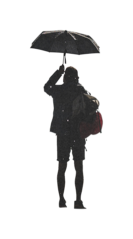 Person with umbrella png. Man holding architecture people