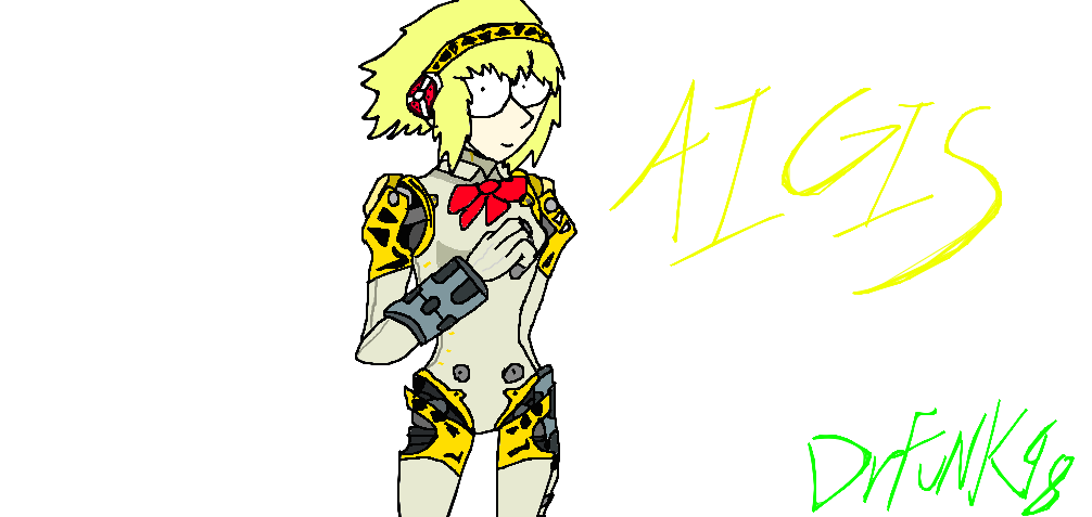 By drfunk on deviantart. Persona drawing aigis banner black and white