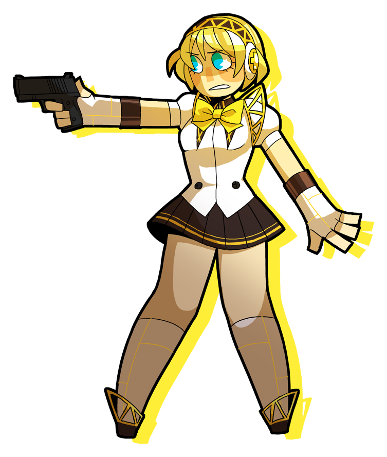 Persona drawing gun position. Magica aigis by kiwifie