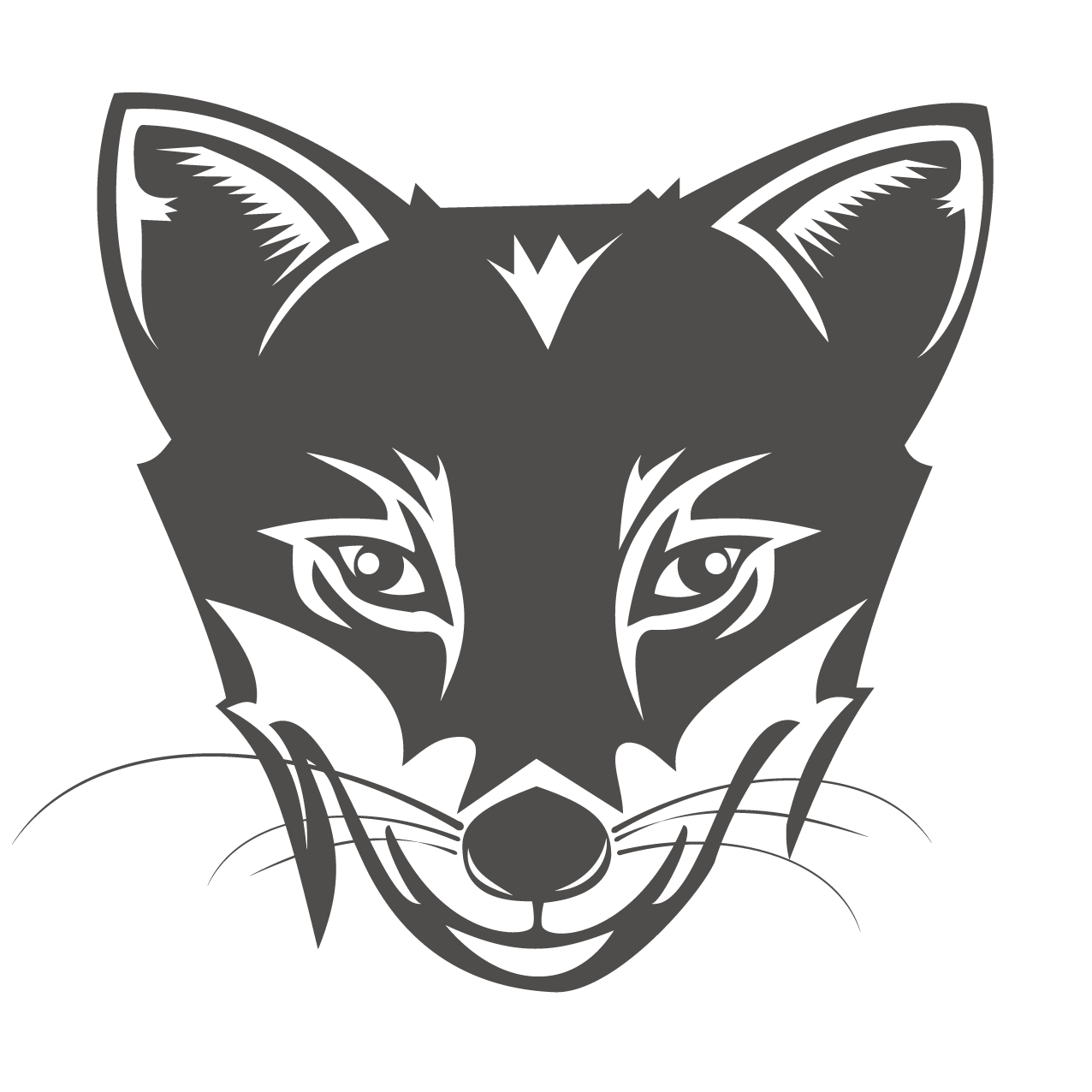 Personality drawing illustration. Fox logo head transprent