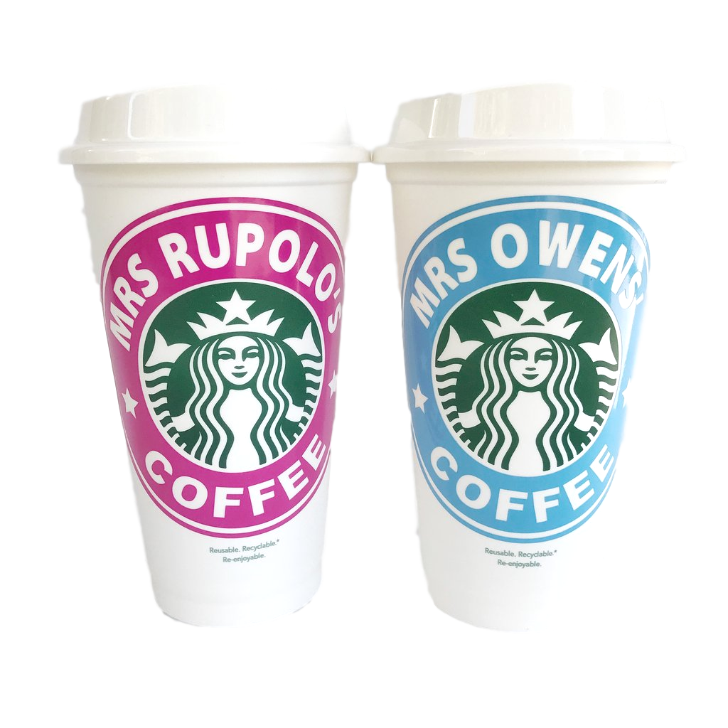 Personalized starbucks tumbler png. Gifts for teachers cups