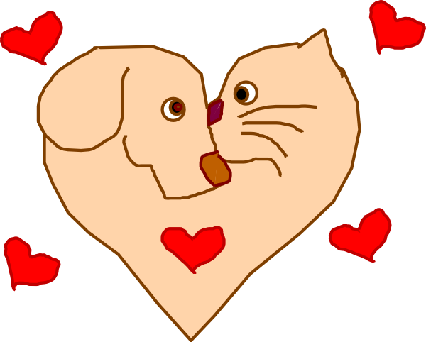 Pet clipart heart. Dog and cat clip