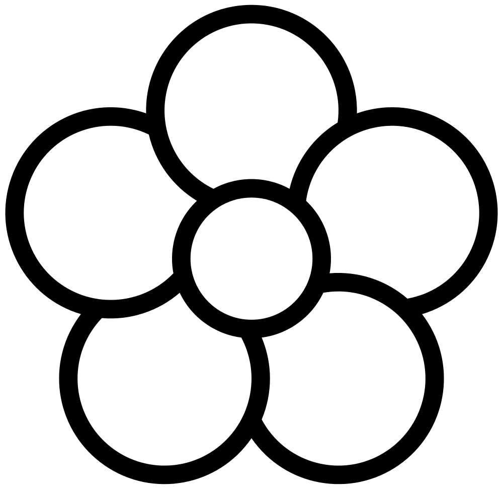Petal drawing black and white. File five flower icon