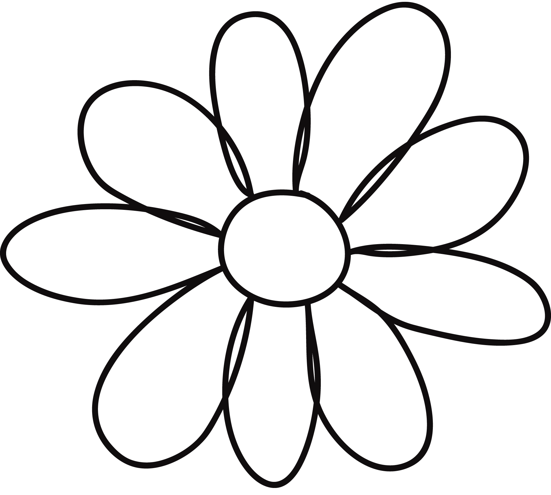 Petal drawing flying petals. Flower template clipart