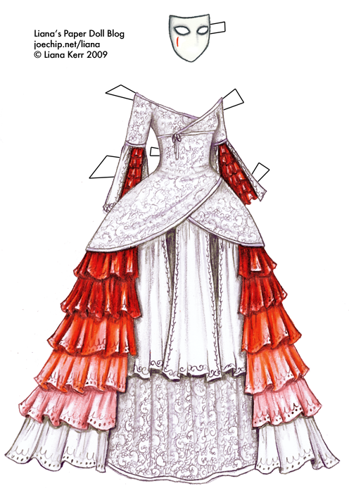 Petal drawing red gown. Liana s paper doll