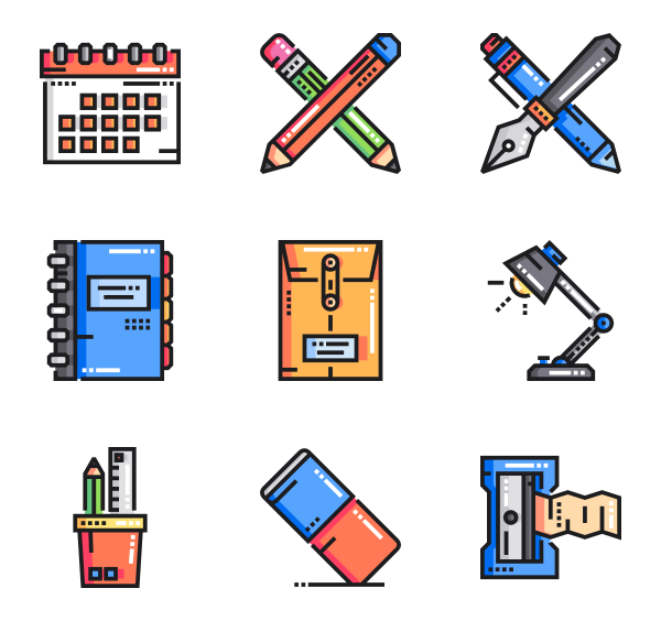 Vector tool office. Pencil icons free stationery