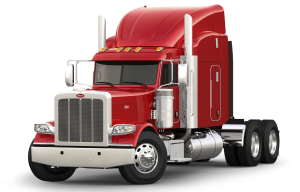 Peterbilt vector illustration. Homepage on highway