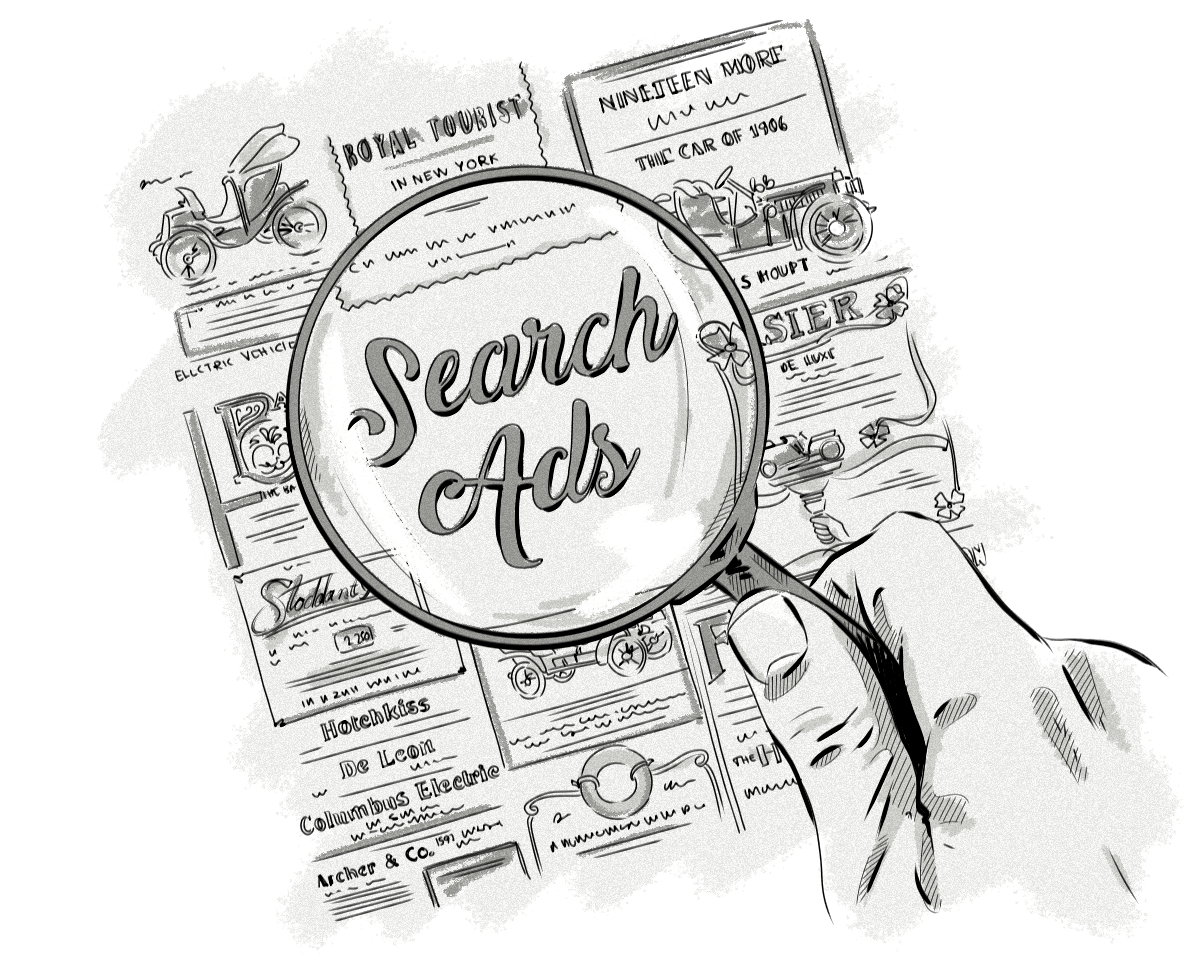 Portfolio drawing advertising. What is search and