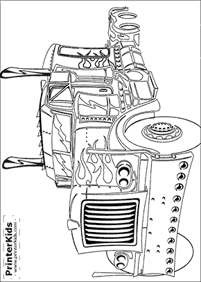 Peterbilt drawing optimus prime. Transformers coloring page cullen