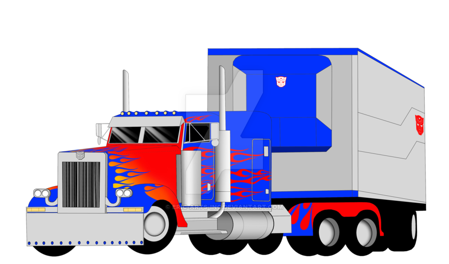 Peterbilt drawing optimus prime. Truck mode with trailer