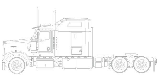 Semi drawing w900 kenworth. Tonkin replica w sleeper