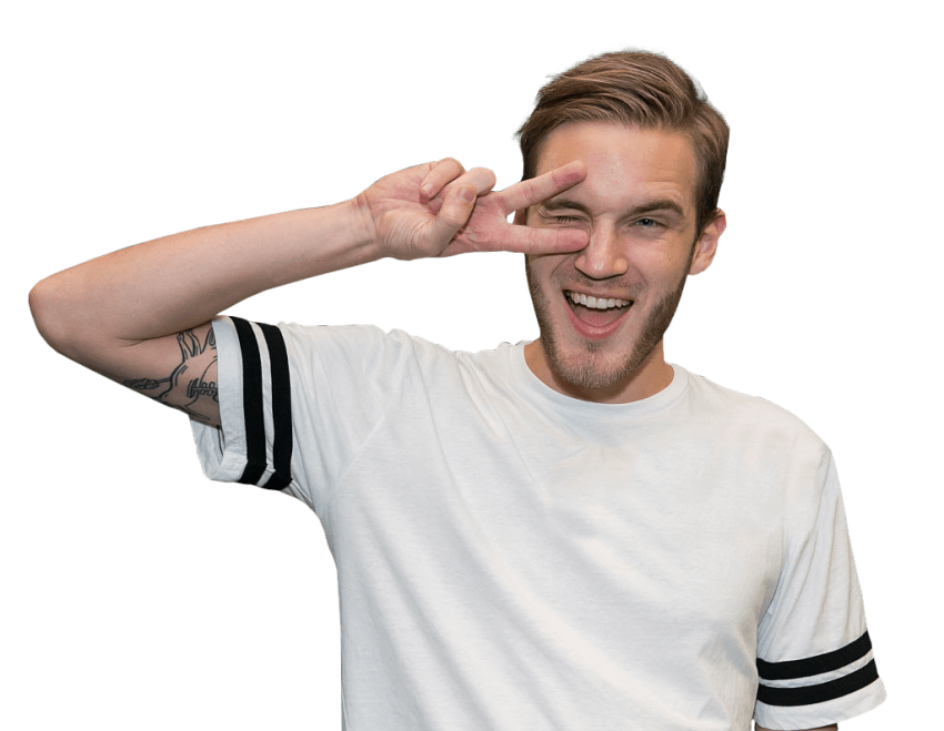 Pewdiepie png. In a white shirt