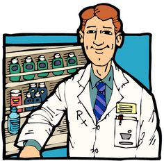 Neoteric pharmacists at work. Pharmacist clipart image freeuse library