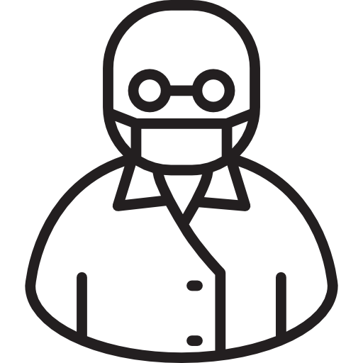 Pharmacist drawing icon. Bald free medical icons