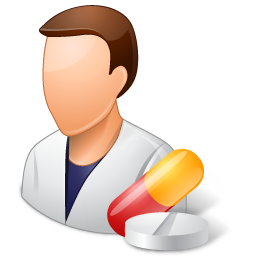 Pharmacist drawing male cartoon. Medical light icon vista