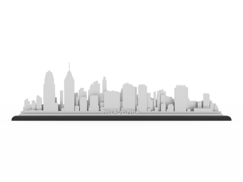 Philadelphia skyline png. Stainless steel cut map