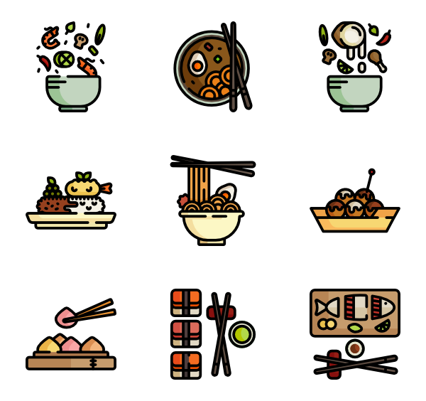 Asian vector cloud. Bowl icons free food