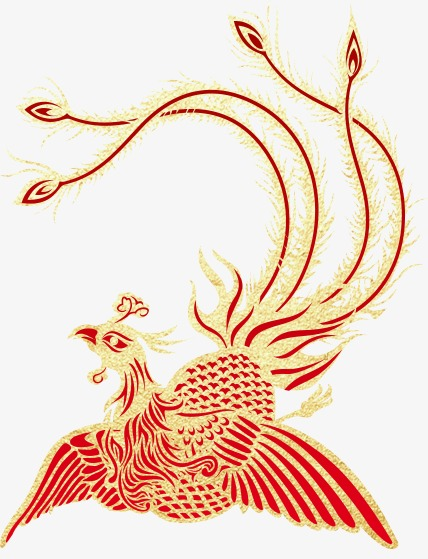 Phoenix clipart phoenix chinese. Golden style dragon and