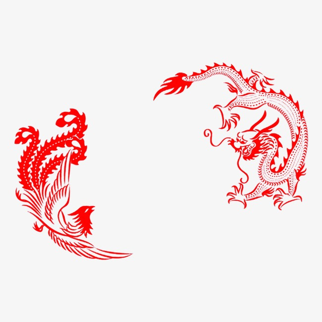 Phoenix clipart phoenix chinese. Dragon and style red