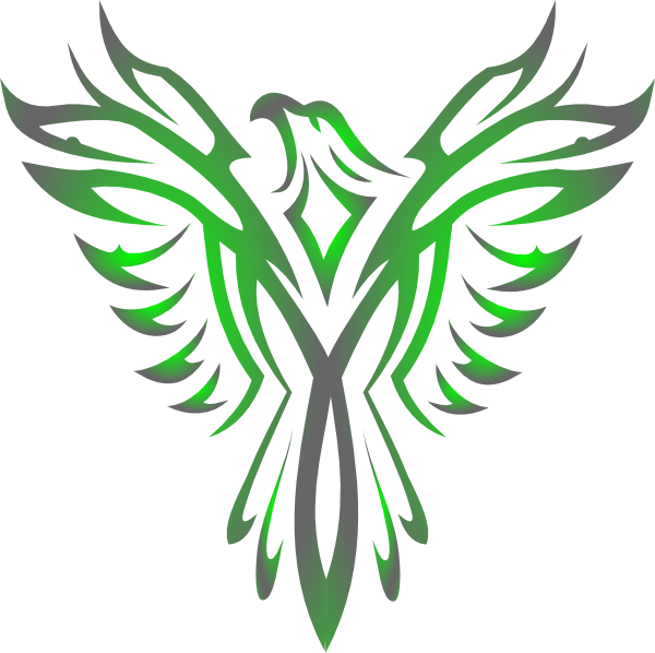 Phoenix drawing png. Green gradient hi shillington