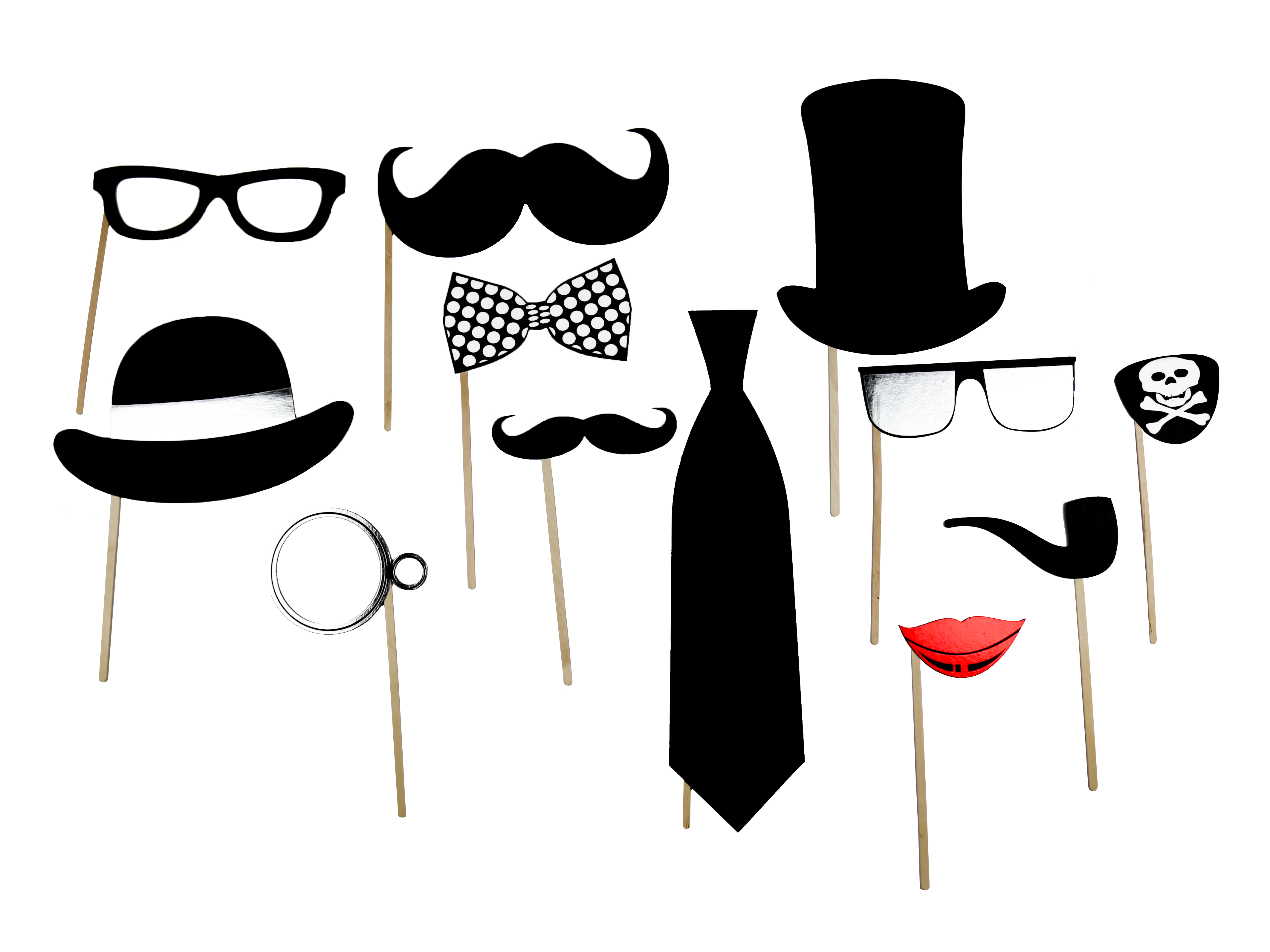 Photo booth props png. On sticks