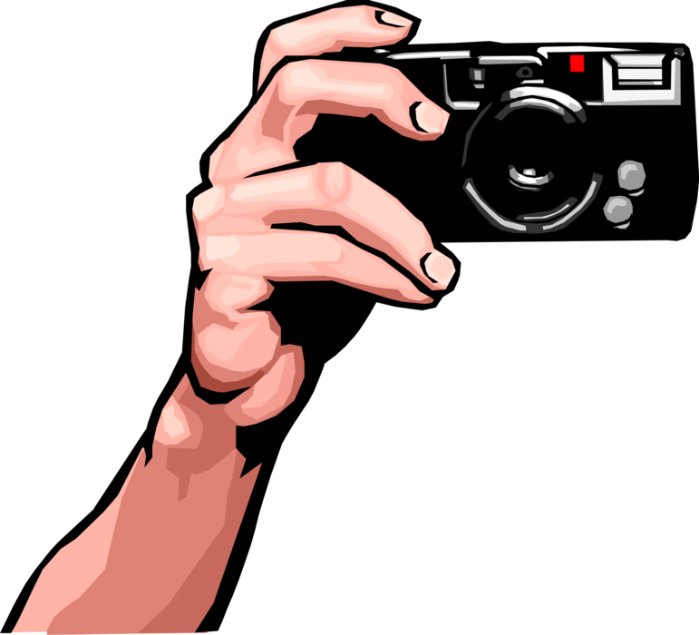 Photography camera vector png. Hand holds digital image